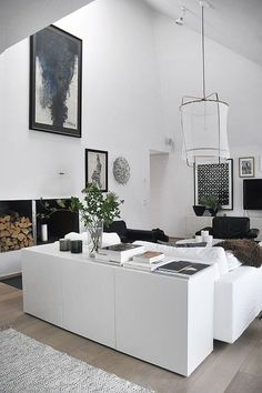 11 Open-Plan Living Spaces That Will Make You Want to Move BESTÅ Storage combination with doors IKEA modern interior white nice clean soft black wood The post 11 Open-Plan Living Spaces That Will Make You Want to Move appeared first on Raumteiler ideen. House Design, Room Design, Interior, Home, Interior Architecture, House Styles, House Interior, White Interior, Home And Living