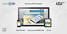 METRODIR -  Directory PSD Template . METRODIR has features such as Layered: Yes, Minimum Adobe CS Version: CS5.5, Pixel Dimensions: 1920x3668