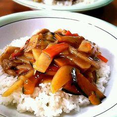 カボチャ、じゃがいも、ナス、ニンジン、鶏肉です - 19件のもぐもぐ - 今日の二人ランチ★何でも野菜の中華丼 by murachi