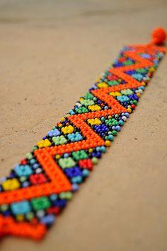 Orange Zigzag BraceletAfrican beaded by akwaabaAfrica on Etsy Beaded Choker Necklace, Beaded Jewelry, Loom Beading, Beading Patterns, African Beaded Bracelets, Expensive Jewelry, Native American Beading, Tribal Jewelry, Bead Weaving