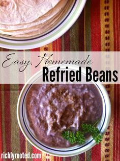 We like to serve refried beans on homemade tacos or burritos, with chips, or as a side dish. This recipe for homemade refried beans is freezer-friendly and super easy to make!