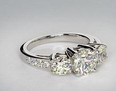 Three Stone Pavé Diamond Ring in Platinum (1/4 ct. tw.)