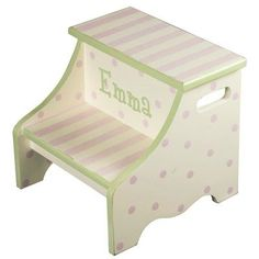 Renditions by Reesa Stripe Personalized 2-Step Step Stool