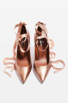 Rose Gold Heels, Gold Shoes, Shoes Heels, Tie Shoes, Rose Gold Aesthetic, Ribbon Shoes, Topshop Shoes, Leather High Heels, Real Leather