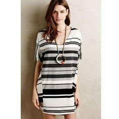 50eb6fc97657c Anthropologie Puella Dress Sz S Striped Knit Elevation Cocoon Gray Black  Shift