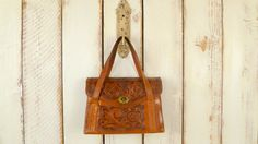 Vintage 60s/70s brown tooled/embossed leather by GreenCanyonRoad, $68.00
