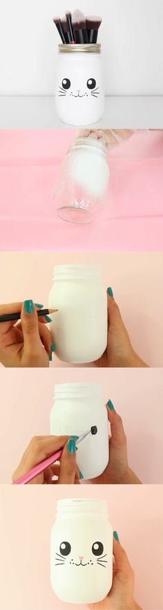 que faire avec des pots en verre, accessoire pour les pinceaux, visage lapin avec moustaches