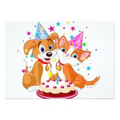 Dog and Cat Birthday Celebration Card