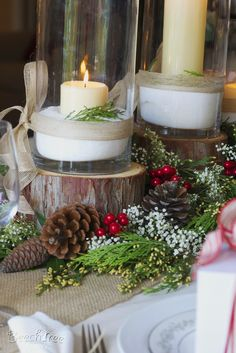 Christmas Tablescape - love the idea of using natural tree rounds.  Will save some while cutting firewood this fall.