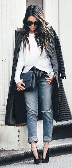 trendy fall outfit : coat + bag + white top + rips + heels