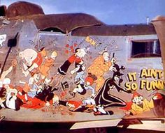 A monument to comic book art on the sides of aircraft, this collage includes characters from all sorts of comic strips, which will be listed in full in our next book. It was painted by Sgt. Sarkis E. Bartigian, who was assigned as the 64th Squadron painter. His elaborate B-24 nose art is well-known, and the most famous piece of nose art he painted is seen on the B-24 called THE DRAGON AND HIS TAIL. That particular B-24 graces the cover of Ken's Men Against the Empire, Volume II.