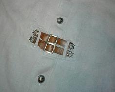 Trachten-Hemd Herrenhemd Leinenhemd mit Leder Gr. ca 60/62 beige Oktoberfest