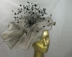 """This stunning headpiece from famous """"Fillies Collection"""" features finest craftsmanship and artistry. Made from finest """"french cloth"""" fabric and feathers, this hat was designed for the special events like Melbourne Cup and Ascot. Hand made by Hats from Oz in Melbourne, Australia"""