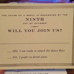 This Wedding Response Card Is The Funniest Thing Youll Read All Day