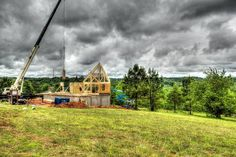 We love this photo of this Timber Block wall raising. Did you know, the walls of a Timber Block home go up in hours? Your home can be dried in within days - cutting down on the time and cost of construction! See more on our Facebook page! (Timber Block)