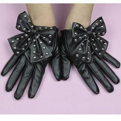 Women's Bow Faux Leather Gloves Stud $7.59