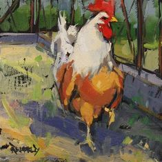 """Daily Paintworks - """"Barnyard King"""" - Original Fine Art for Sale - © Cathleen Rehfeld Rooster Painting, Rooster Art, Chicken Painting, Chicken Art, Animal Paintings, Animal Drawings, Oil Paintings, Original Paintings, Barnyard Animals"""