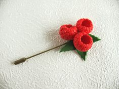 Brooch needle Raspberry Pin Jewelry with berries Brooch with