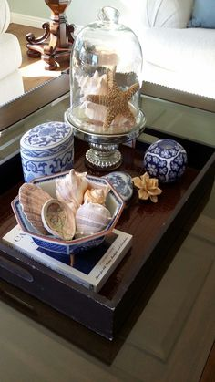 Home Decor Ideas Christmas Coffee Table Styling, Decorating Coffee Tables, Cloche Decor, Blue And White China, Decorated Jars, Tray Decor, White Decor, Coastal Decor, Cheap Home Decor