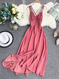 Elegant Sexy Long Backless V Neck Bohemian Summer Dress Bohemian Summer Dresses, Long Summer Dresses, Dress Summer, Summer Outfits, 70s Fashion, Skirt Fashion, Fashion Dresses, Hippie Fashion, Beach Fashion
