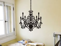 Chandelier Wall Decal - Style 3 living room bedroom wall decor. $16.00, via Etsy.  20x21