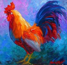 Rooster Bob by Marion Rose Oil ~ 12 x 12