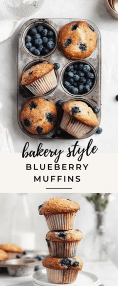 Blueberry Muffins Recipe -Fluffy and Moist! blueberry muffins recipeThese fluffy blueberry muffins are tender, moist and loaded with fresh blue Jumbo Blueberry Muffin Recipe, Oatmeal Blueberry Muffins Healthy, Homemade Blueberry Muffins, Simple Muffin Recipe, Blue Berry Muffins, Oatmeal Muffin Recipe, Blueberry Cupcake Recipes, Bakery Style Blueberry Muffins Recipe, Best Muffin Recipe