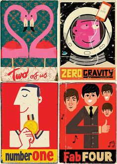 Paul Thurlby Illustrations - from the UK - view GREAT, retro-style signs, numbers & alphabet Art And Illustration, Illustrations Vintage, Graphic Design Illustration, Graphic Art, Illustration Children, Character Illustration, Retro Poster, Vintage Posters, Vintage Magazine