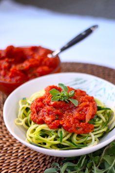 Fresh Oregano Marinara Sauce Recipe over Zucchini Noodles