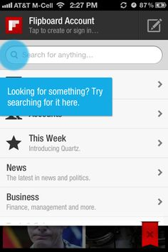 Flipboard iPhone coach marks screenshot. Totally misunderstood UX, it already says search for anything.