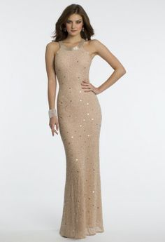 All beaded cleo neck dress with low illusion back.•Beaded cleo collar•Empire waist and illusion back•Fitted bodice