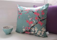 Beautiful Blossom Print Cushion - Teal Pink and White Cherry Blossom Pillow - Pretty Printed Cushion