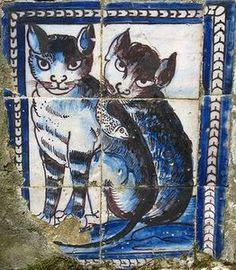 Portugal - Palais de la Fronteira à Lisbonne Antique Tiles, Vintage Tile, Zoo 2, Delft Tiles, Mosaic Tiles, Tile Art, Paint Tiles, Tile Painting, Motif Art Deco