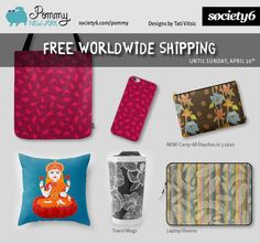 FREE SHIPPING on all products from Pommy New York, until Sunday, April 10th. Shop now: https://society6.com/pommy/collection