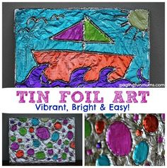 5 Easy Art Projects for Kids. We love creating art with our children here at Paging Fun Mums! The children were just home for a two week holiday which had us revisiting some of our favourite art projects. Tin Foil Art, Aluminum Foil Art, Tin Foil Crafts, Crafts To Do, Crafts For Kids, Arts And Crafts, Easy Art For Kids, Art Crafts, Easy Art Projects