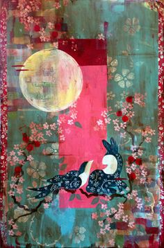 """Kathe Fraga paintings, inspired by the romance of vintage Paris and Chinoiserie Ancienne. """"Enchantment In The Garden As The Moon Gazes On"""", 24x36 on frescoed canvas. www.kathefraga.com"""
