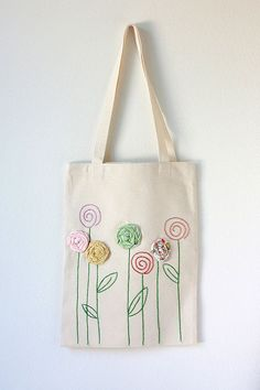 Embroidered Cotton Canvas Tote Bag with Fabric by TwoElephantsShop Best DIY Gift Ideas DIY mother's day 2017 Mother's Day in 2017 is on Sunday, the of May. Diy Sac, Painted Bags, Diy Tote Bag, Personalized Tote Bags, Embroidery Bags, Cotton Bag, Cotton Canvas, Jute Bags, Mother's Day Diy
