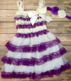 Flower Girl Dress/ Ivory lace dress/ Ivory and Purple Lace Dress/ Chiffon/ Lace Dress/ Holiday Dress/ Birthday/ Pageant/ Photoprop by BabyTrendzz on Etsy https://www.etsy.com/listing/170281460/flower-girl-dress-ivory-lace-dress-ivory