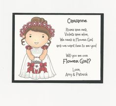 Items similar to BRUNETTE Carianne - Will you be my Flower Girl Flat card - Personalized custom on Etsy Bridal Party Invitations, My Flower, Flowers, Ring Bearer, Red Roses, Groom, Girly, Bride, Handmade Gifts