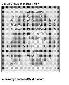 Jesus Crown of Thorns Filet Crochet Doily Pattern Crochet Afghans, Crochet Doily Patterns, Crochet Doilies, Crochet Borders, Crochet Squares, Crochet Lace, Free Crochet, Vintage Crochet, Crochet Designs