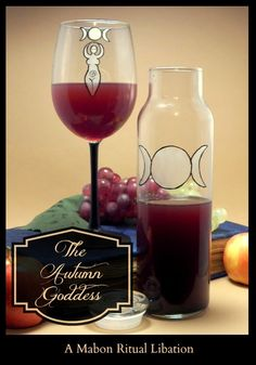 The glass and decanter is amazing! The Magick Kitchen, The Autumn Goddess Drink Recipe Mabon, Samhain, Wiccan, Magick, Witchcraft, Watermelon Granita, Autumnal Equinox, Kitchen Witchery, Sabbats