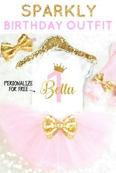 Gorgeous Pink and Gold Birthday Outfit! Personalized with ANY AGE and ANY NUMBER