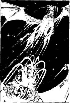 Mi-Go, the Fungi from Yuggoth, by Erol Otus, from the Cthulhu Mythos section of the first printings of AD&D Deities & Demigods, deleted from later printings, TSR, 1980