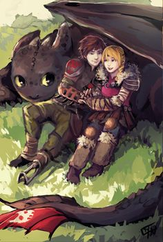 Hiccup and Astrid and Toothless