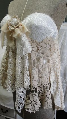 Lace gypsy boho corset bustier vintage lace by SummersBreeze, $88.00