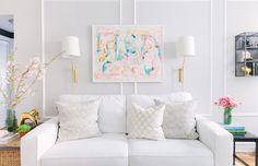 Danielle Moss' Chicago Apartment Tour - The Everygirl Cornforth White Living Room, Living Room White, Home Living Room, Living Room Designs, Chicago Apartment, Light Grey Paint Colors, Light Grey Walls, White Light, Color Pop