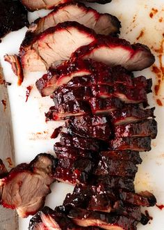Overhead photo of sliced Char Siu Pork - Chinese BBQ Pork Pork Recipes, Asian Recipes, Cooking Recipes, Thai Recipes, Asian Foods, Recipies, Dinner Recipes, Chinese Barbecue Pork Recipe, Chinese Pork