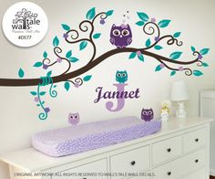 Purple Teal Owl Nursery Wall Decal, Name and Initial, Turquoise Lavender baby girl owl with 4 cute little owls wall stickers. d577