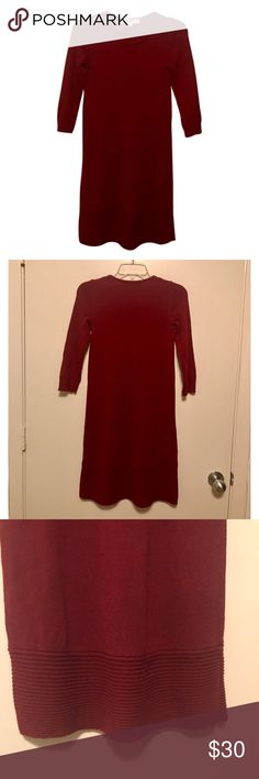 "LOFT Petite Swing Sweater Dress Ruby red petite  swing sweater dress from Ann Taylor LOFT. A wide ribbed hem finishes this soft dress with a modern swing. Ribbed round neck, cuffs, and hem. Long sleeves. Approx. 35"" from shoulder to hem. Worn and washed once. Slight pilling. Fits more like an XSP. LOFT Dresses Long Sleeve"