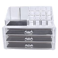 NILECORP Acrylic Jewelry & Cosmetic Storage Display Boxes Two Pieces Set. Ikee Design http://www.amazon.com/dp/B00DUJEWDE/ref=cm_sw_r_pi_dp_Bdipvb10ERDXT
